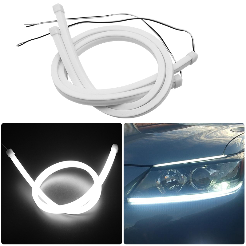 2pcs Light Strip For VW Golf 4 5 6 7 <font><b>Passat</b></font> B5 <font><b>B6</b></font> B7 Polo CC MK4 MK5 MK6 45/60cm Car <font><b>LED</b></font> Flexible White <font><b>Turn</b></font> <font><b>Signal</b></font> Light image
