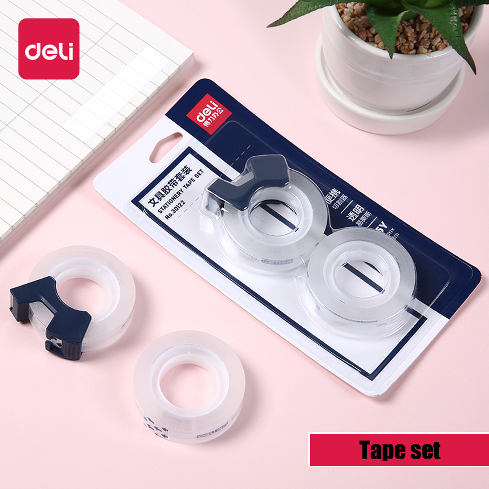 Deli 1 Set Transparent Small Tape Small 1.2cm Student Shredded Narrow Strip Office Supplies Stationery with Portable Cutter