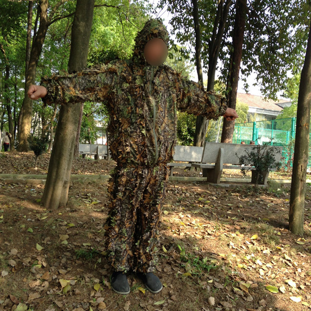Outdoor Hunting clothes 3D maple leaf Bionic Ghillie Suits Yowie sniper birdwatch airsoft Camouflage Clothing jacket and pants 6