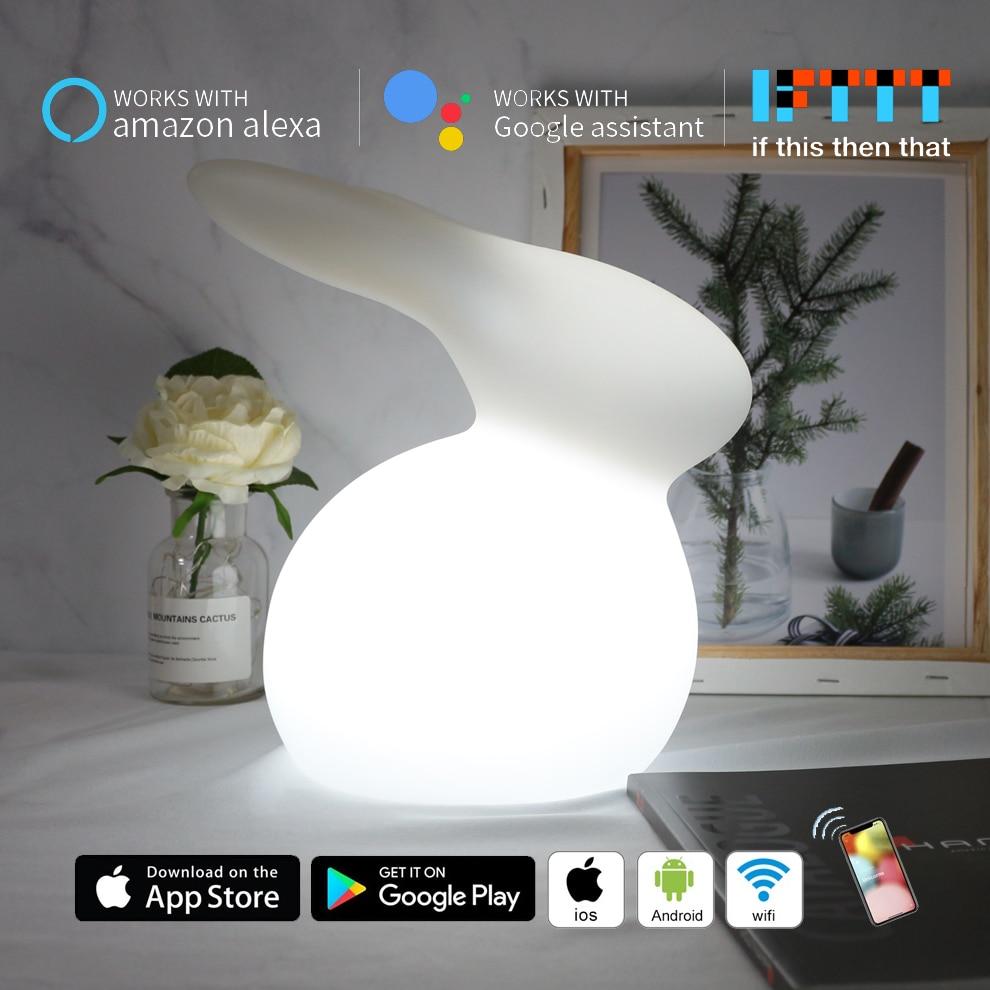 Dessin animé lapin lampe à LED WiFi intelligent APP contrôle RGB LED veilleuse Alexa Google maison commande vocale bébé chambre chevet sommeil lumière