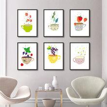 Плакат с изображением фруктов авокадо лимон винограда Картина