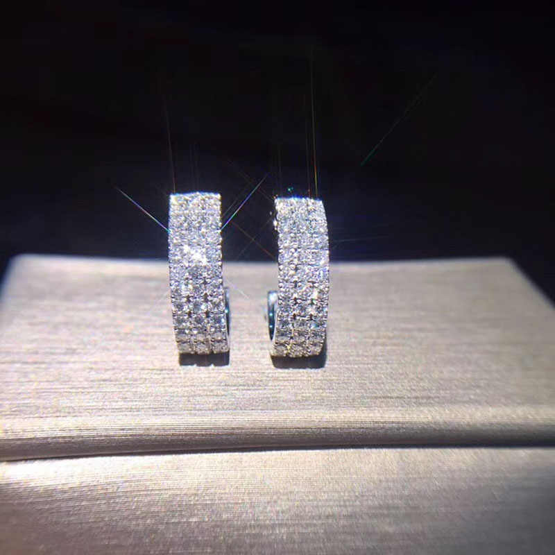 Hot moda kolor srebrny koło kryształowe ucho klamra stadniny kolczyki luksusowe trzy taśma z kryształami górskimi kolczyki ślubne kobiety prezent Z3T394