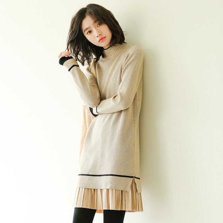 202o Spring And Autumn Mid-length Joint Flounced Sweater Dress