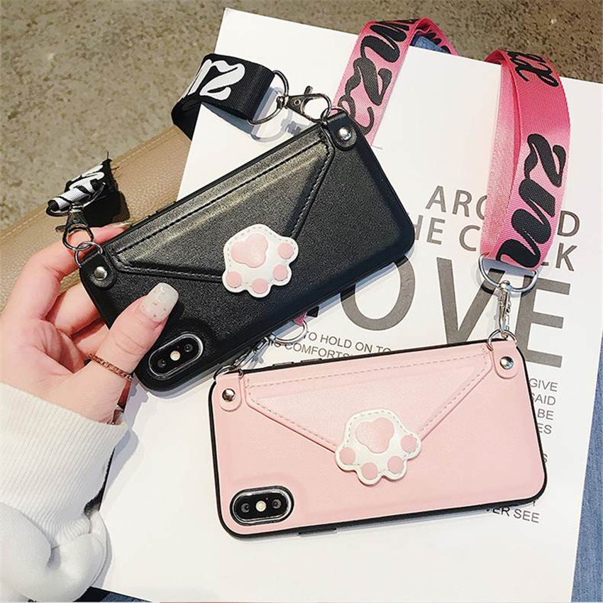 Cute <font><b>Cat</b></font> Paw New <font><b>Cases</b></font> With Strap Wallet For <font><b>iPhone</b></font> iPhon x xr <font><b>8</b></font> 7 Anti Impacto Cover For Girls Bag For The Phone On The Neck image