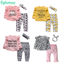 Cute Cotton Baby Girls Clothes Set Newborn Infant Letter Long Sleeve Tops and Casual Print Pants Headband Toddler Outfits