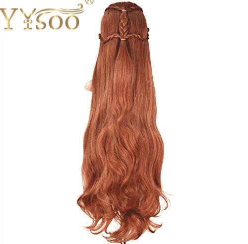 YYsoo סרט ההוביט שר הטבעות Elf Tauriel פאת קוספליי זהב חום שיער ארוך גלי צמות תלבושות פאות עבור נשים