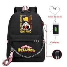 Рюкзак для ноутбука с USB-разъемом и принтом «Моя геройская Академия»