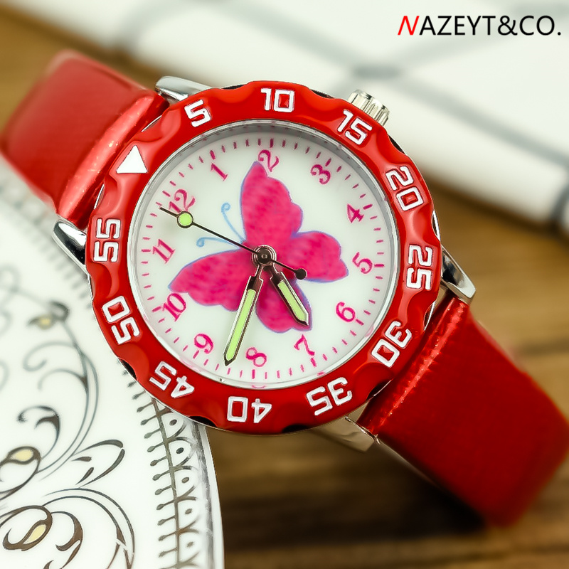 Promotion Luxury Brand Children Watch Beauty Butterfly Dial Girls Cartoon Wristwatch Cute Annimal Design Boys Quartz Gift Clock