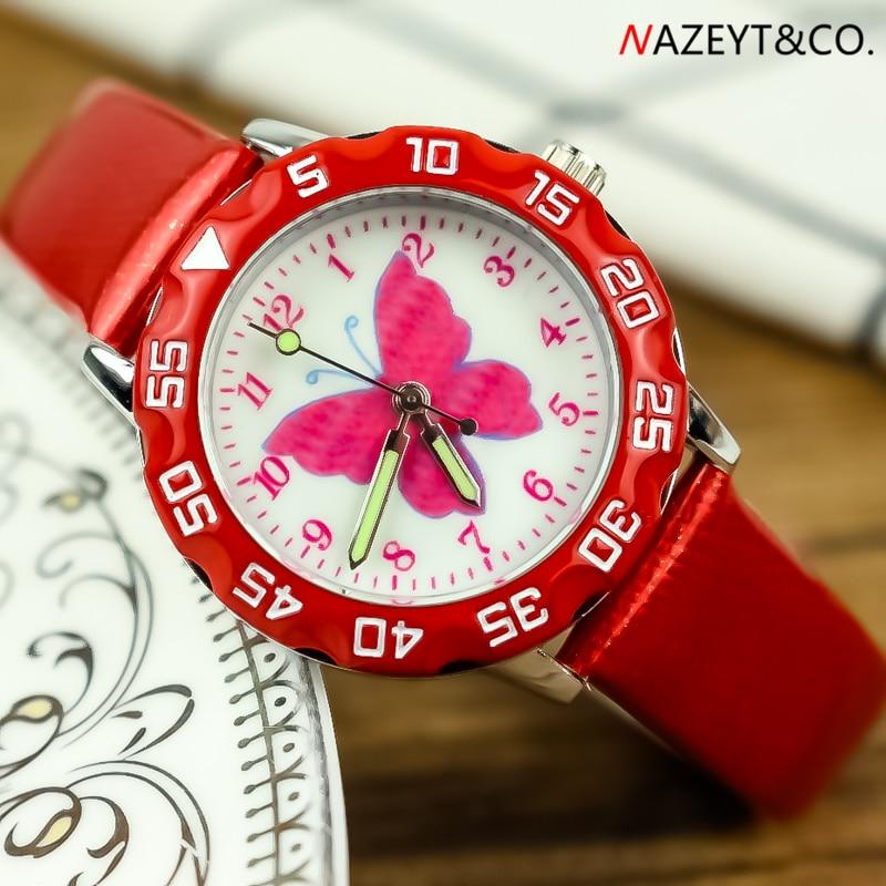 Promotion Luxury Brand Children Watch Beauty Butterfly Dial Girls Cartoon Wristwatch Cute Annimal Design Boys Quartz Gift Clock