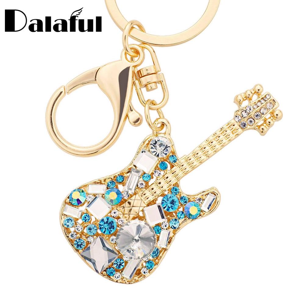 Dalaful Unique Guitar Crystal Rhinestone Keychains Purse Bag Buckle HandBag Pendant For Car Keyrings Women Key Chains K255