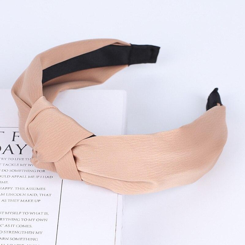Couleur unie noeud bandeaux pour femmes Simple tissu filles bandeau femmes cheveux accessoires large côté bandeau 49