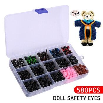 Narices triangulares y ojos de seguridad con arandelas de plástico de 580 Uds. Para muñecas osos de peluche, juguetes, artesanías DIY, accesorios Amigurumi