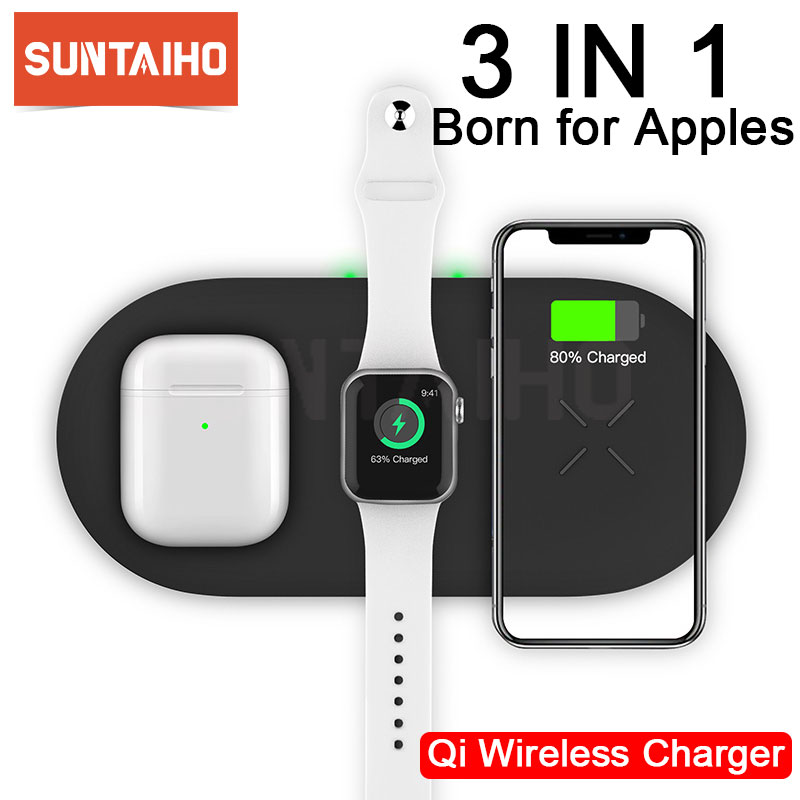 Suntaiho 3 in 1 <font><b>Qi</b></font> Wireless Charger For Airpods Apple <font><b>Watch</b></font> 5 4 3 2 iWatch Fast Wireless Charging Pad For iPhone 11 Pro Xs Max X image