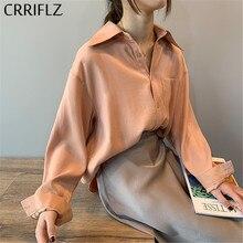 crriflz 2020 new chic casual loose poplin shirt female temperamen silk