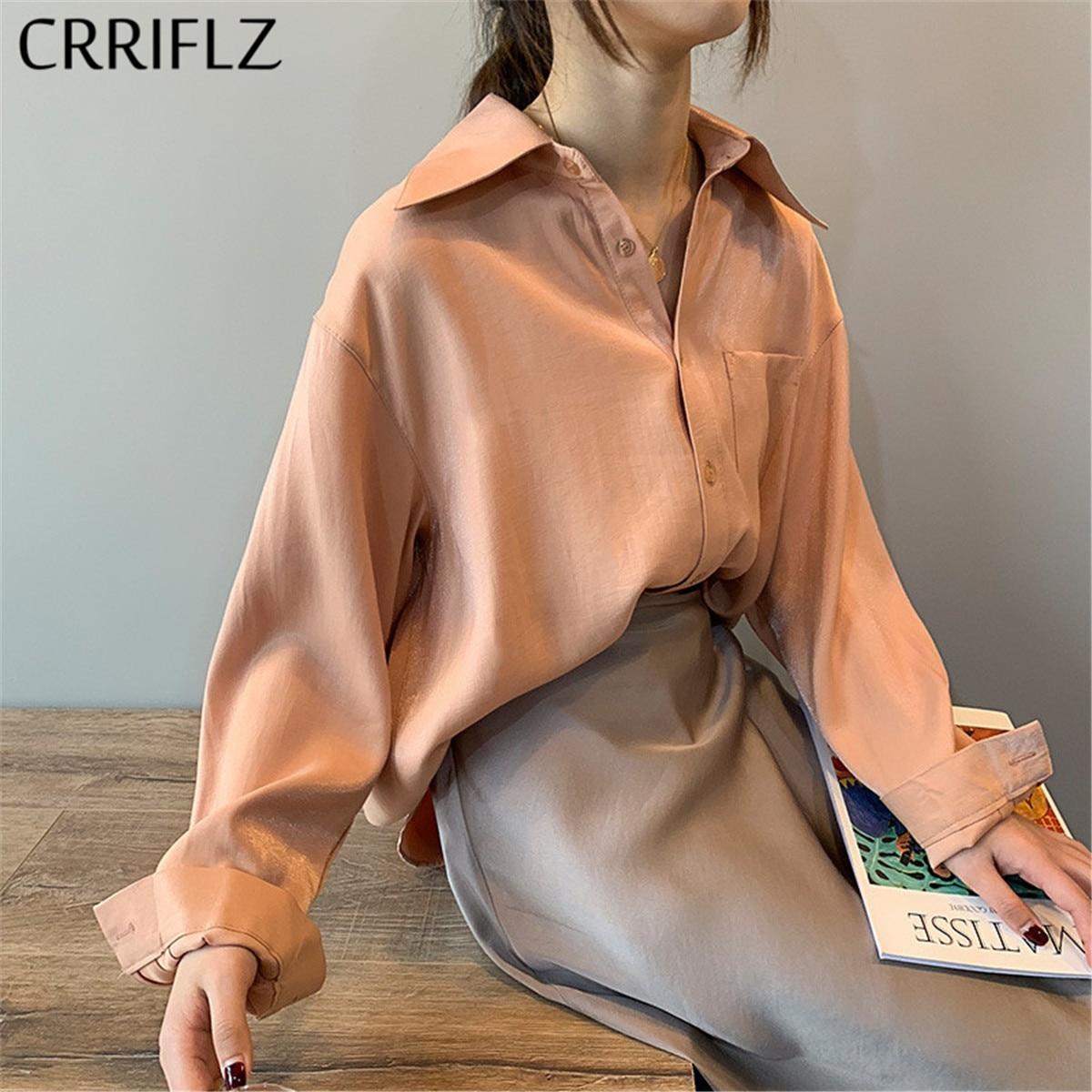 Crriflz 2020 New Chic Casual Loose Poplin Shirt Female Temperamen Silk Blouse Shirt Women Elegant Solid Color Oversize Top
