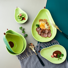 Avocado Plate Ceramic Dish Salad Bowl Breakfast Cereal Bowl Dish Party Snack Fruit Dishes Plate Dessert Tray Photography Props