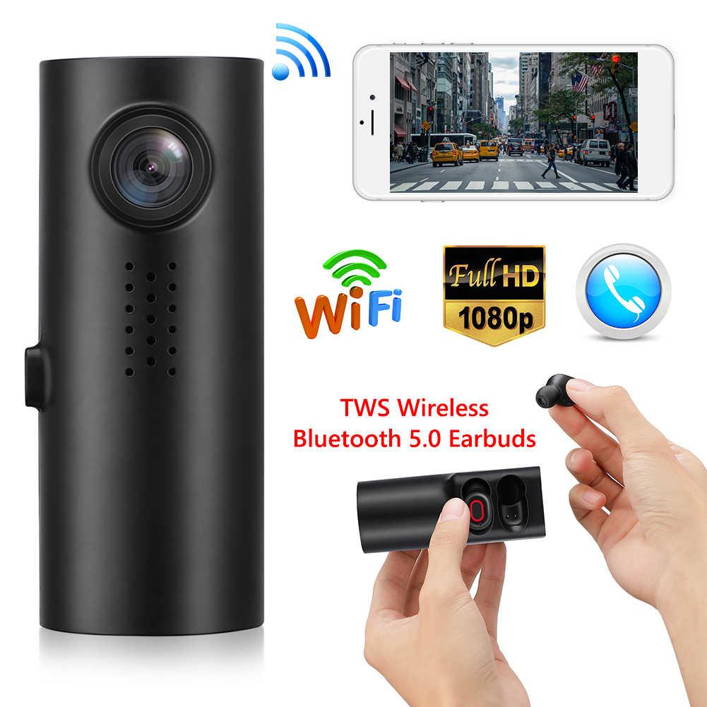 X1 FHD 1080P WiFi coche DVR cámara de salpicadero Control de voz chino Dashcam con auriculares inalámbricos TWS Bluetooth 5,0