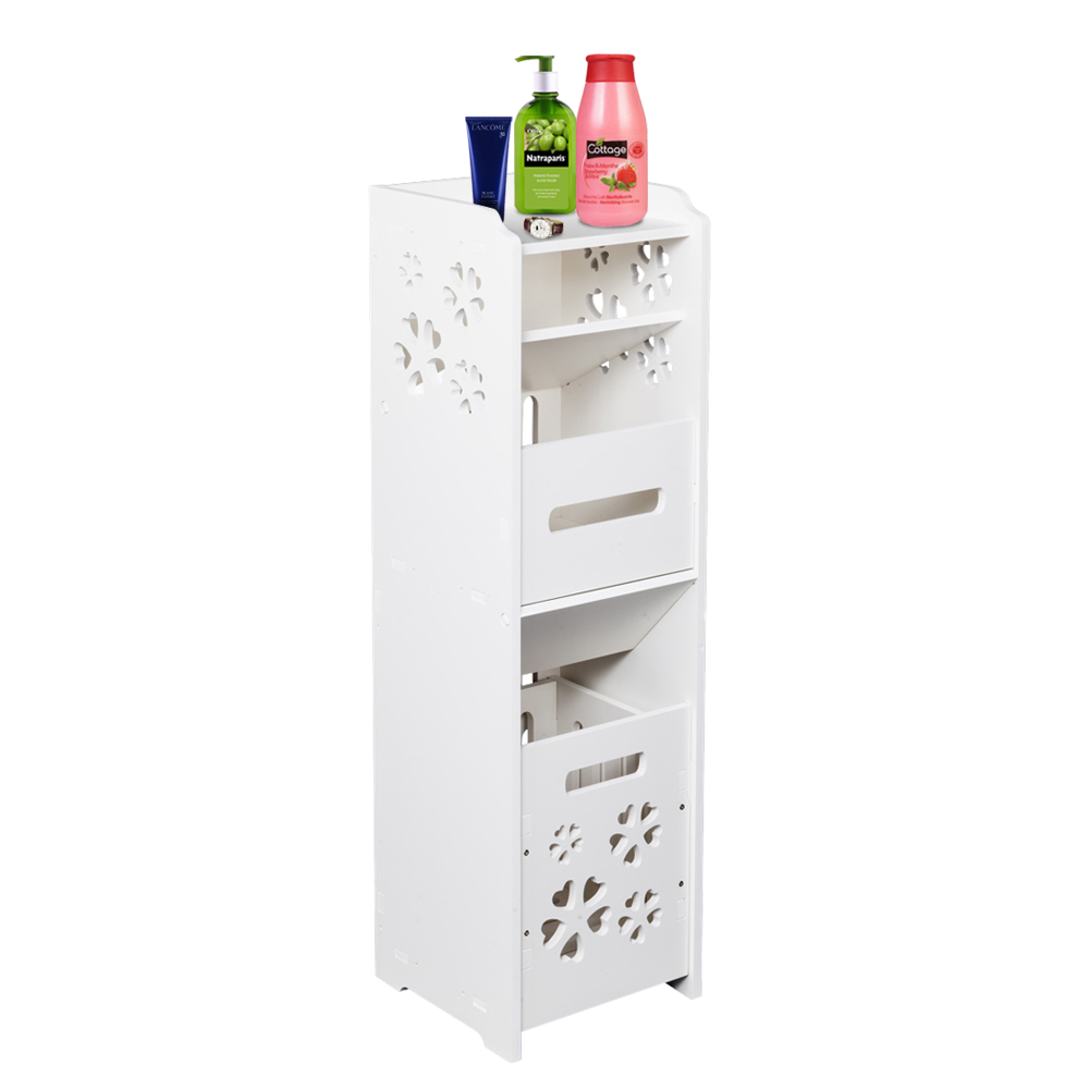 Permalink to 3-tier Bathroom Storage Cabinet With Garbage Can White Bathroom Vanity Floor Standing Locker With Trash Basket 25X25X80CM