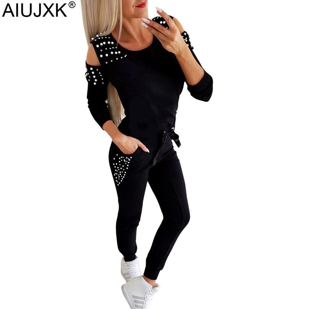 AIUJXK Autumn Winter Women Fashion Beading Two Piece Set O-neck Off Shoulder Casual Tracksuit Woman Top And Pants Outfits
