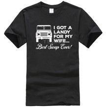 Landy – T-Shirt My Wife pour hommes, amusant, 4x4, Defender 90, 110 SVX, hors route