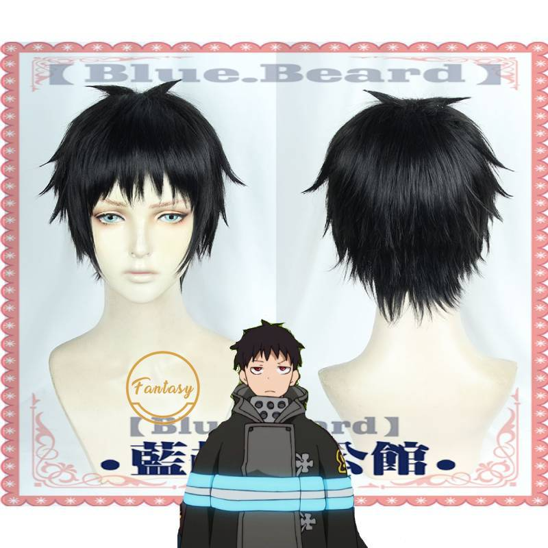 Image 1 - Shinra Kusakabe Fire Force Cosplay Short Black Heat Resistant Synthetic Hair Wig +Free Wig CapAnime Costumes   -