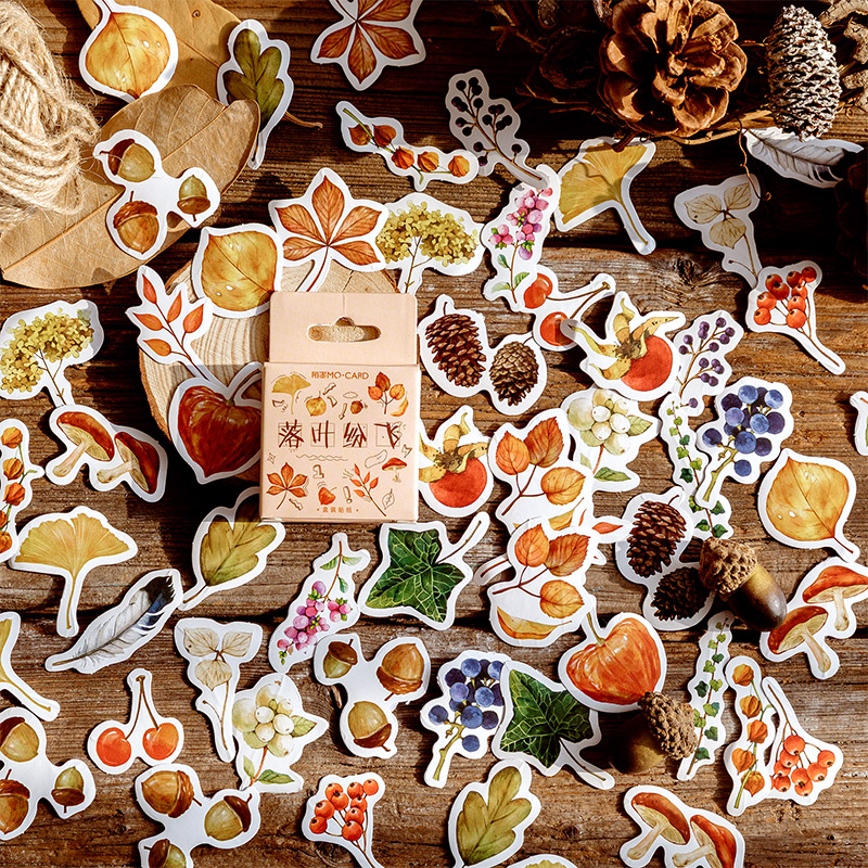 45 Pcs/Box Vintage Autumn Leaves Mini Decoration Paper Sticker Decoration DIY Album Diary Scrapbooking Label Sticker