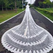 Wedding-Veils Long Comb Lace Cathedral Sequins Ivory White 5-Meters 2-Layers with 5M