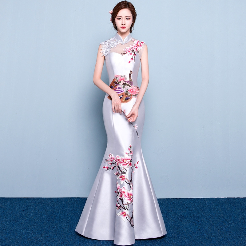 Oriental Evening Dress Chinese Style Fashion Peacock Embroidery Qipao Sexy Long Mermaid Cheongsams Vestidos S-XXL
