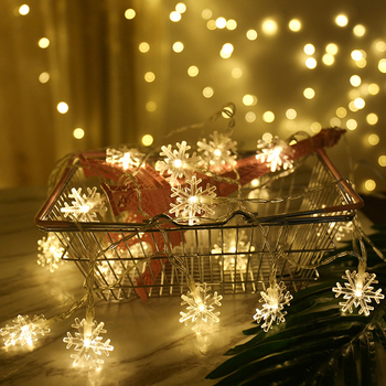 LED Snowflake String Lights Snow Fairy Garland Decoration for Christmas tree New Year Room Valentine's day Battery Plug Operated christmas decoration set pink let it snow kit paper snowflake fans navidad new year ornaments new