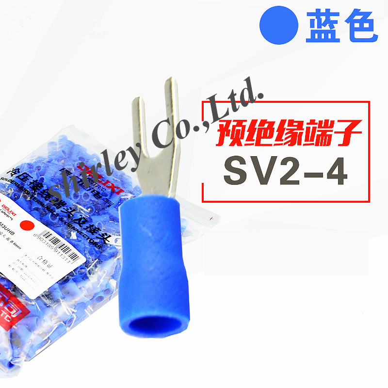 SV2-4 синий фурикатный кабель провода разъем 100 шт./упак. Furcate предварительно изоляционная Вилка Лопата 16 ~ 14AWG провода обжимные клеммы SV2.5-4 SV