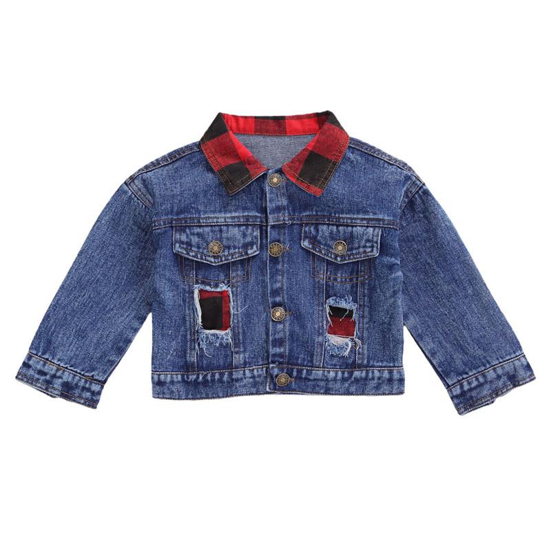 Blotona/детское осеннее пальто Джинсовая куртка в клетку с длинными