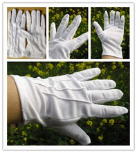 White Three Tendons Polyester Cotton Homework Plastic-spotted Gloves Dacron Anti-slip Work Driving Etiquette Sun-resistant White(China)