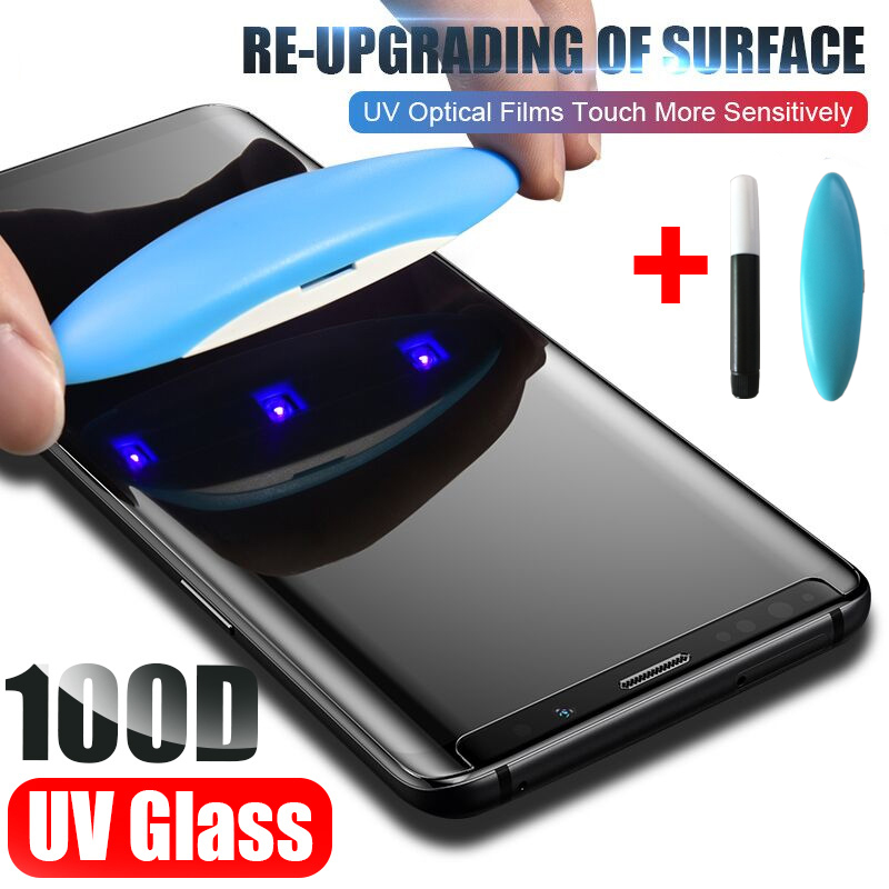 UV Full Glue Tempered Glass For Samsung Galaxy S20 Plus S10 S20 S9 S8 Note 10 8 9 Plus UV Screen Protector Film For Samsung S20