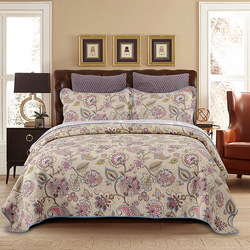 W stylu Vintage kwiatowy róże Paisley narzuta Queen size 3 sztuk  żywymi  wielu kolorów 100% bawełna pikowana łóżko rozłożone zestaw poszewka na poduszkę w Narzuta od Dom i ogród na