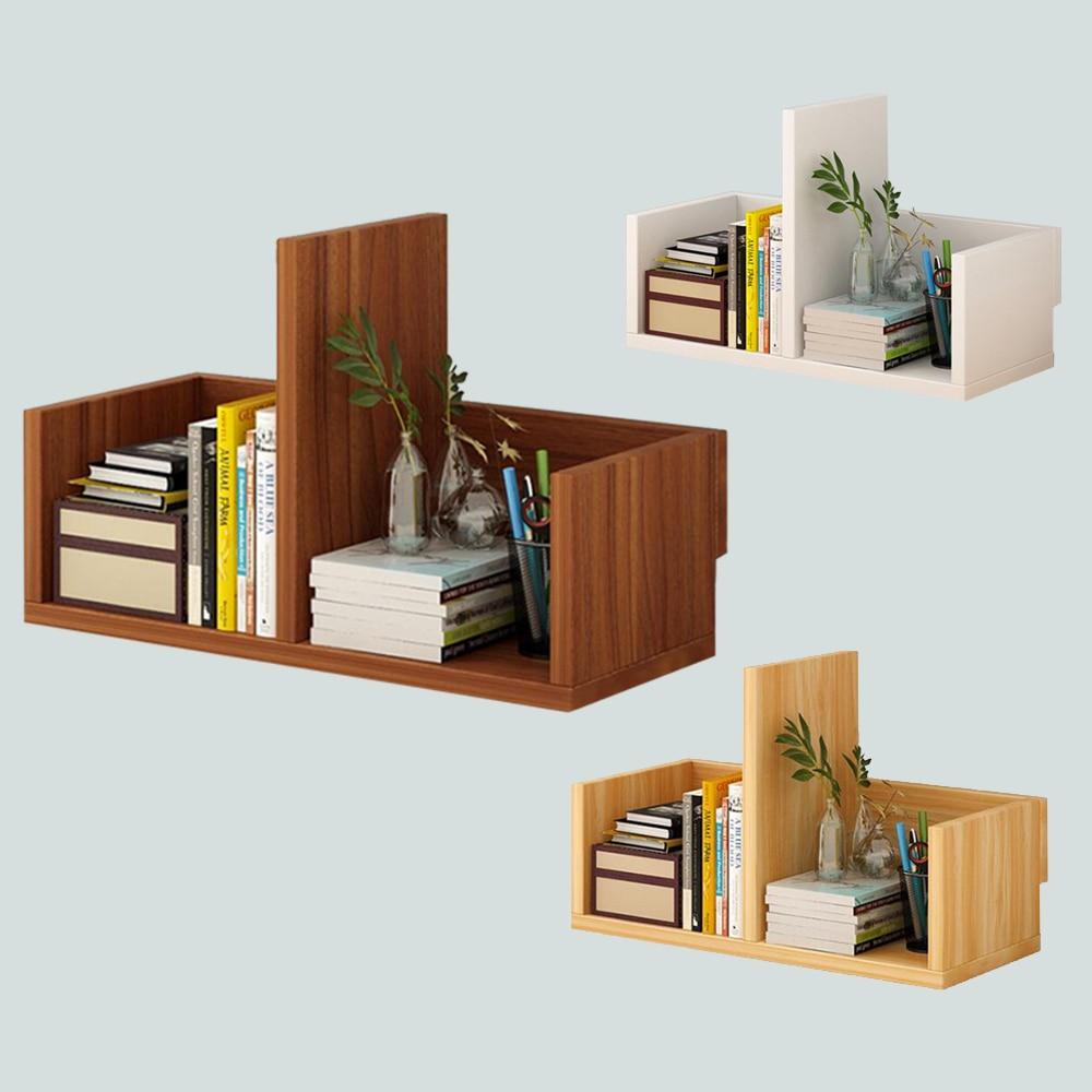 Creative Computer Desk Bookshelf Simple Wood Shelf Small Office Storage Frame Desktop Bookcase For Office Study Home Furniture