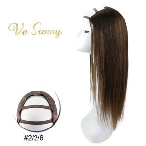 Vesunny peruca, parte u meio peruca 100% cabelo humano real com clipes em balayage marrom #2/2/6 cabelo remy feito à máquina 12-24 polegadas
