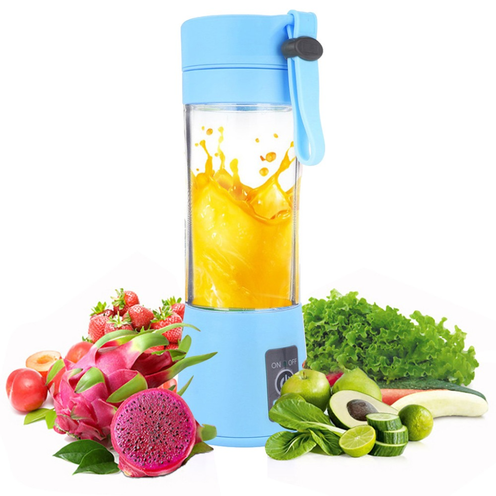 380ml 2/4/6 USB Rechargeable Blades Mini Portable Electric Fruit Juicer Smoothie Maker Blender Machine Sports Bottle Juicing Cup|Manual Juicers| |  - title=