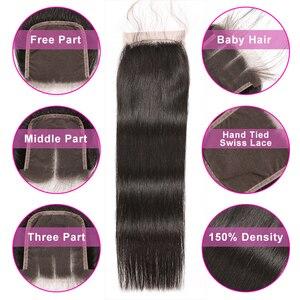 Image 4 - ישר שיער חבילות עם סגירה ברזילאי שיער Weave חבילות שיער טבעי חבילות עם סגירת Beyo ללא רמי הארכת שיער