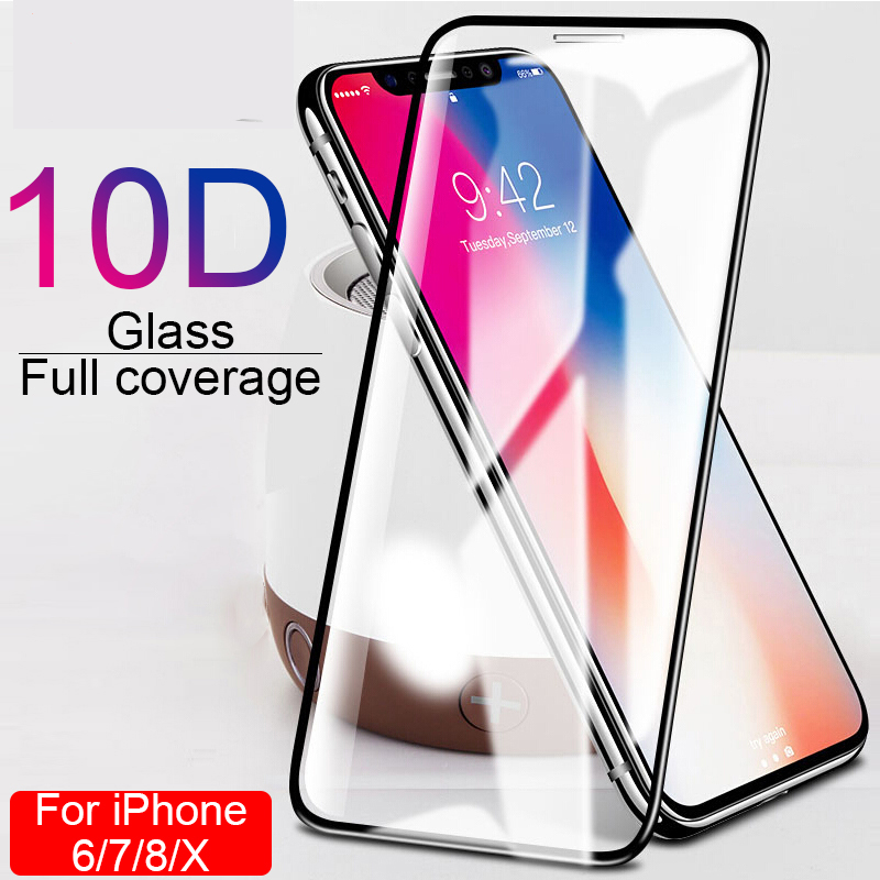 10D Full Coverage Cover Glass For IPhone 6 6S 7 8 Plus X XR XS MAX Glass Iphone 7 8 6 6S X XR XSMAX Screen Glass Protective Film