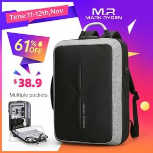 Image 1 - Mark Ryden New Anti thief USB Recharging Men Backpack NO Key TSA Lock Design Men Business Fashion Message Backpack Travel