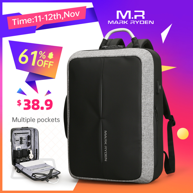 Mark Ryden New Anti thief USB Recharging Men Backpack NO Key TSA Lock Design Men Business Fashion Message Backpack Travel