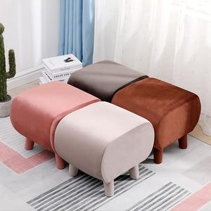 Скандинавская домашняя квадратная табуретка из массива дерева, сменный стул для обуви, фланелевая ткань, круглый дизайн, нагрузка 200 кг, дет...