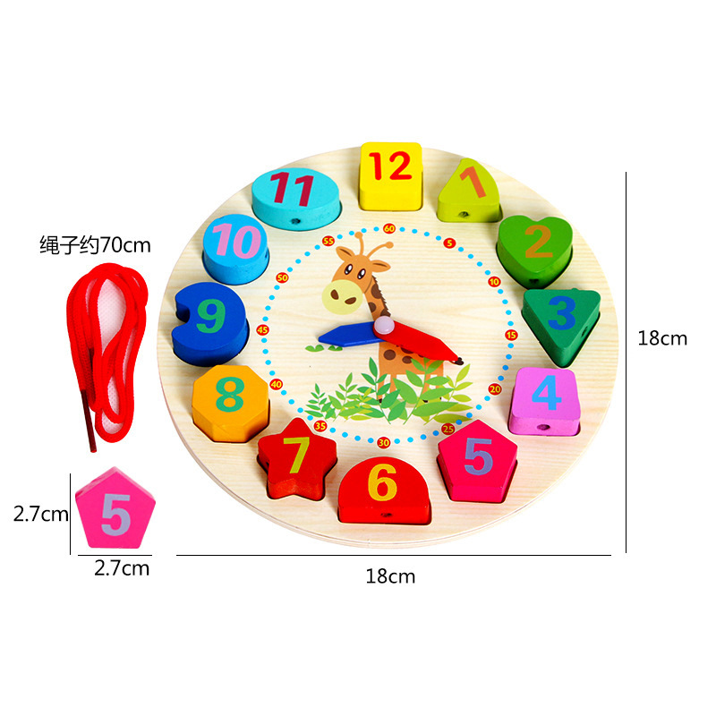 Cognitive With Numbers Multi-functional Threading Wooden Make-up Shape With Numbers Clock Children Early Childhood Educational T