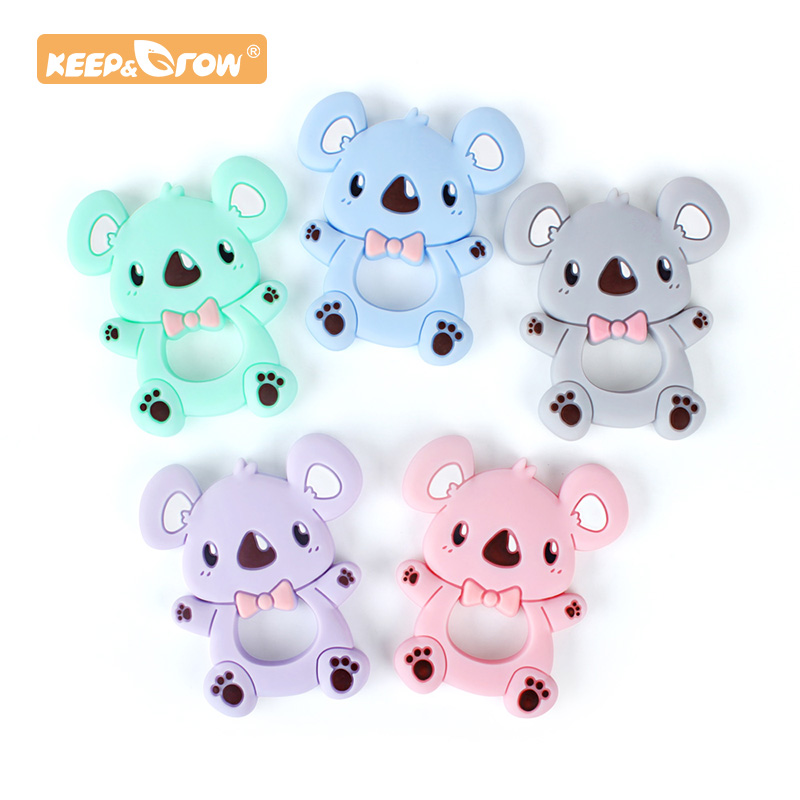 Keep&Grow 1pc Silicone Teether Animal Koala Bead Food Grade BPA Free For Baby Teething Chew Charm Silicone Teether Bead Toy Gift