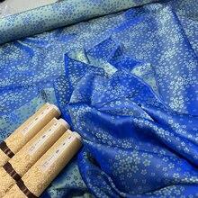 Шелковая одежда синяя цветущая вишня шелковая ткань для одежды