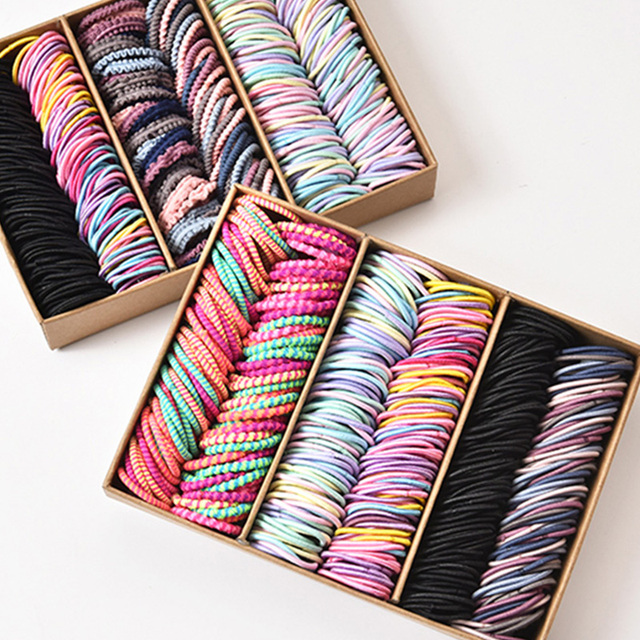 New 100PCS/Set Girls Candy Colors Nylon Elastic Rubber Band Fashion Hair Accessories