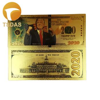 Nowe banknoty 10 sztuk partia ameryka banknoty pozłacane Trump Gold banknot jako prezenty walutowe tanie i dobre opinie TSDAS Patriotyzmu Antique sztuczna gold foil +pet Souvenir home decoration 5days after you paid 100pcs opp bag fake banknotes souvenir banknotes