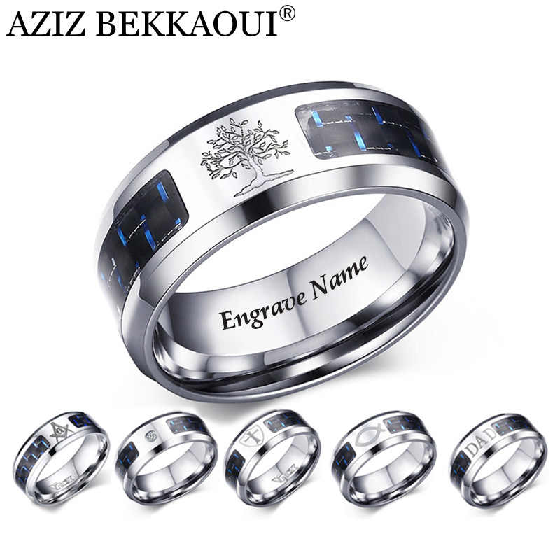 AZIZ BEKKAOUI Personalize Carbon Fiber Ring For Man Engrave Name Tree Of Life Stainless Steel Ring Male Customize Jewelry Gift
