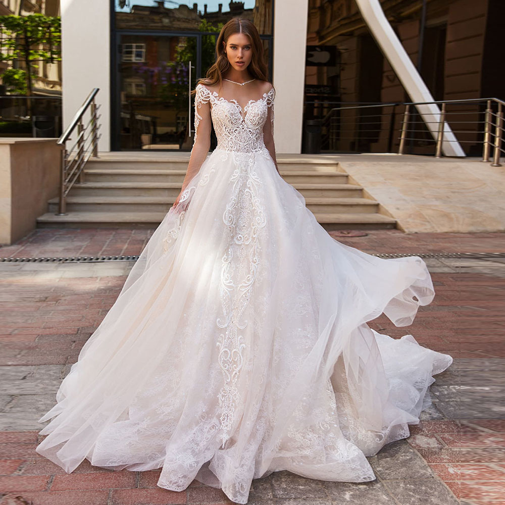 Vestido De Noiva Princesa 2020 Long Sleeve Buttons Up Back Beading Pearls Appliques Lace Luxury Bridal Wedding Dress Boho