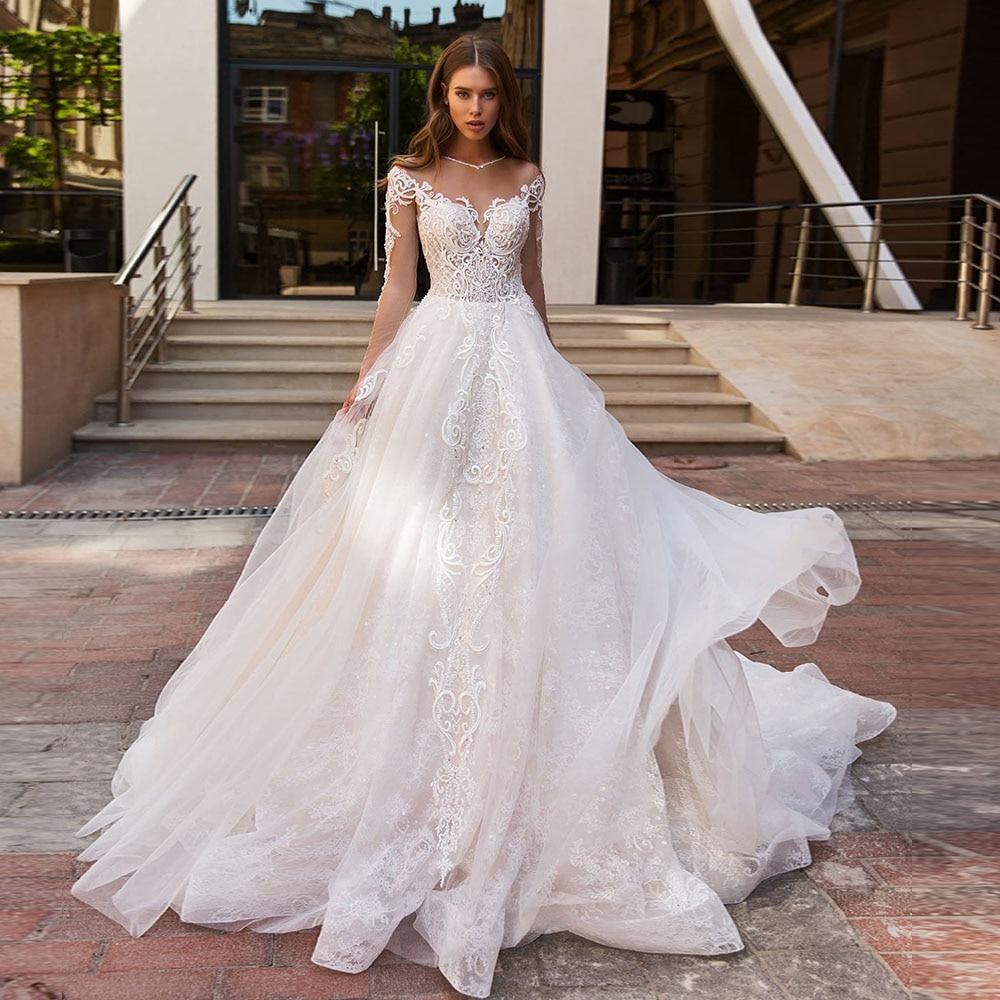 Vestido De Noiva Princesa 2020 Long Sleeve Buttons Up Back Beading Pearls Appliques Lace Luxury Bridal Wedding Dress Boho